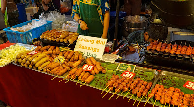 Chiang Mai sausages at Tha Phae gate. Yummy!