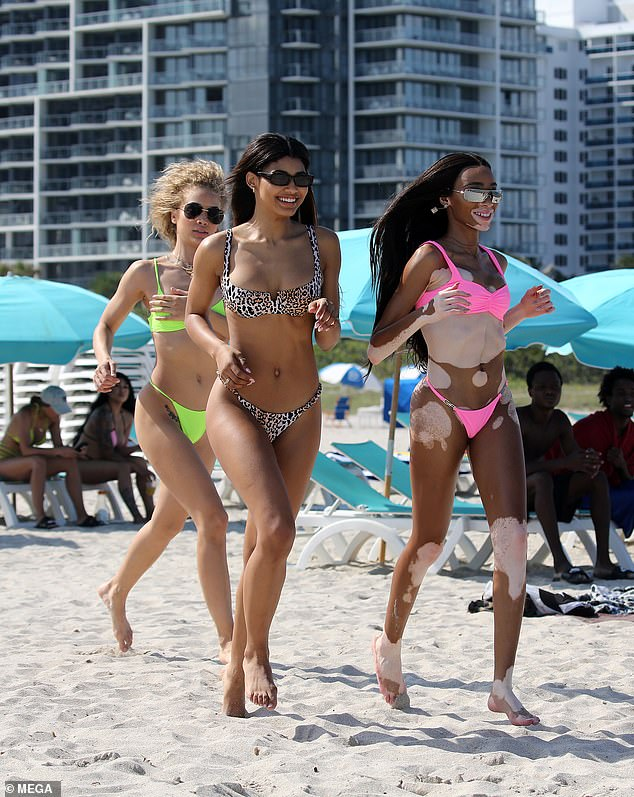 Winnie Harlow, Danielle Herrington and Jasmine Sanders flash plenty of flesh on Miami Beach