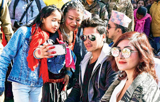 Nepali film personalities Paul Shah and Anchal Sharma in Darjeeling