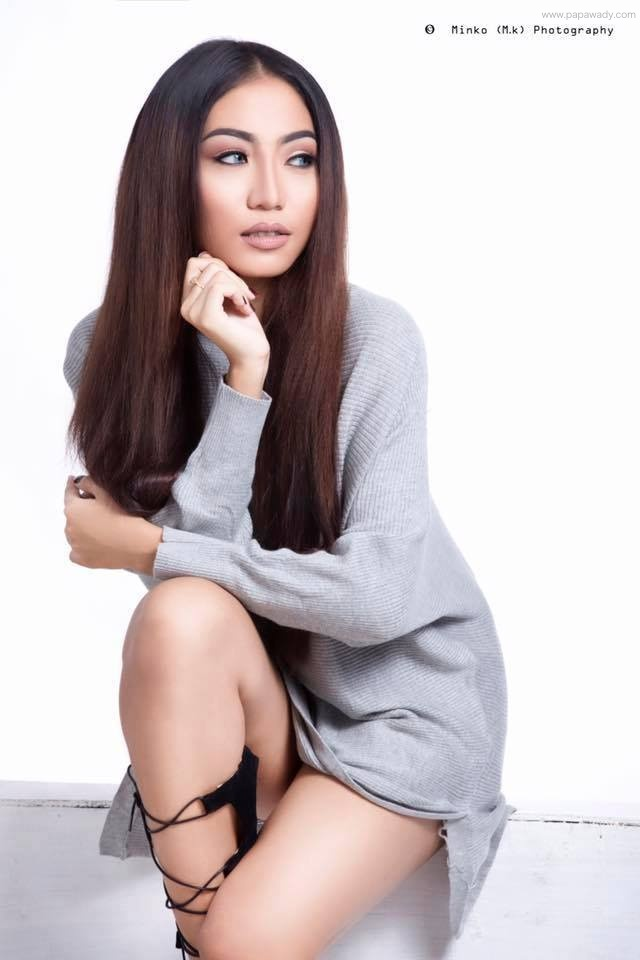 Khin Injinn Kyaw New Studio Fashion Photoshoot Showing Her Legs