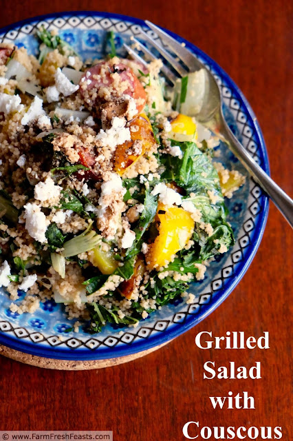 A concept recipe for using Spring farm share greens in a hearty main dish salad. Grill a protein, some vegetables, and a green, then toss with a grain and some cheese for a simple salad supper.