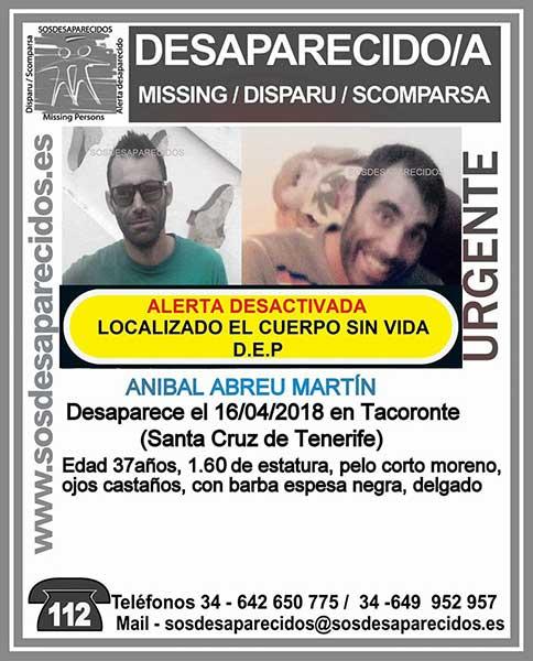 Localizado  muerto hombre desaparecido Tacoronte, Tenerife