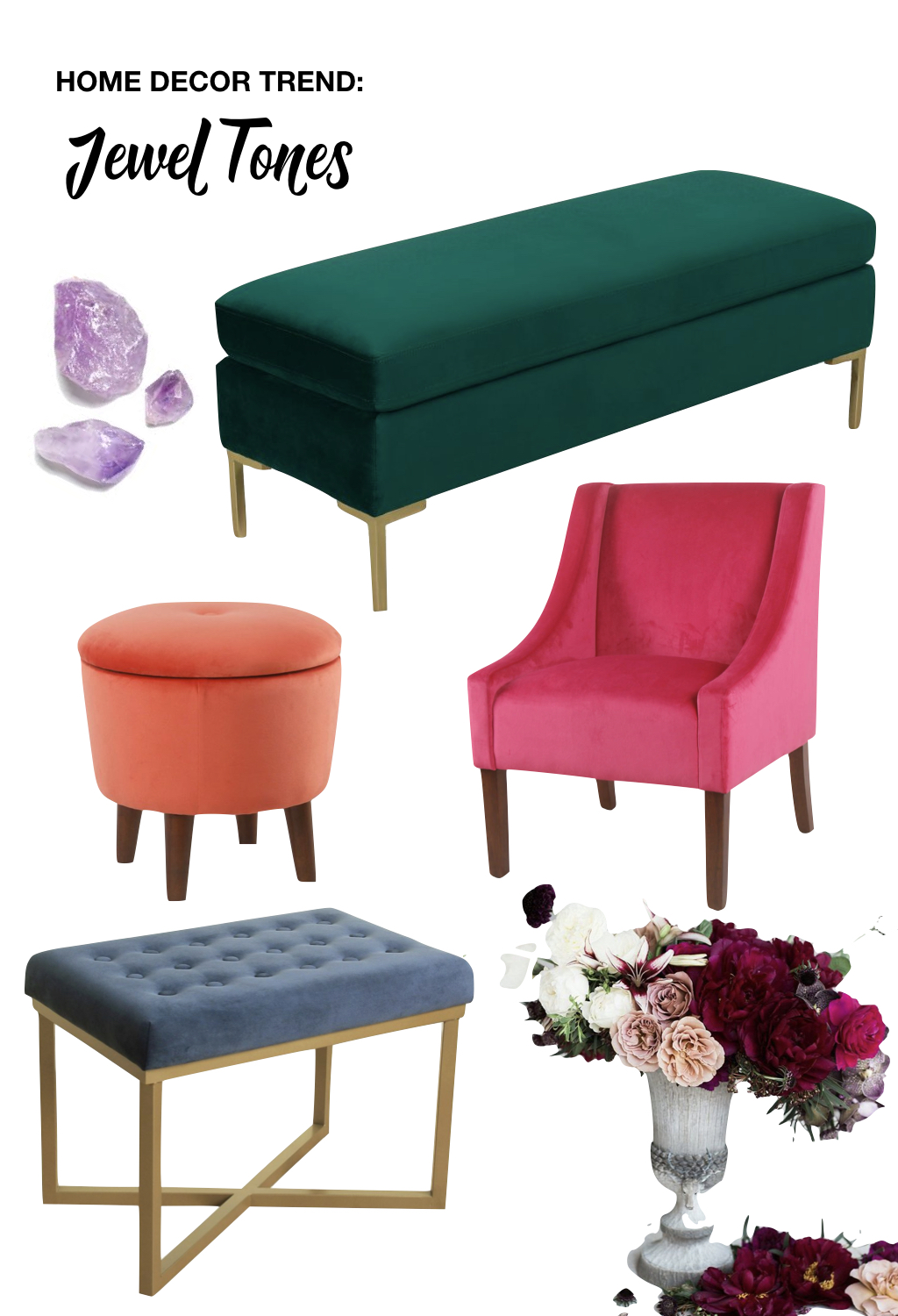 fall home decor trends | jewel tones | green velvet bench brushed gold feet