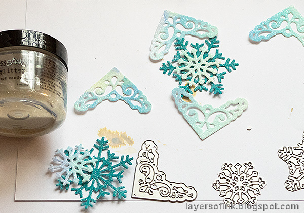 Layers of ink - Interactive Snowflake Spinner Tutorial by Anna-Karin Evaldsson, with Ranger Rock Candy Glitter.