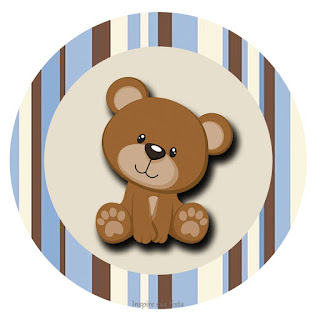 Osito con Rayas: Wrappers y Toppers para Cupcakes para Imprimir Gratis.