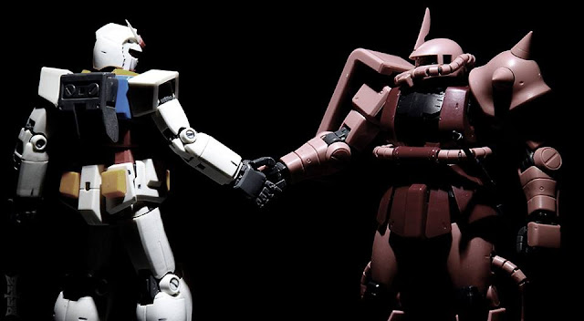 RX-78-2 Gundam and Zaku II Char