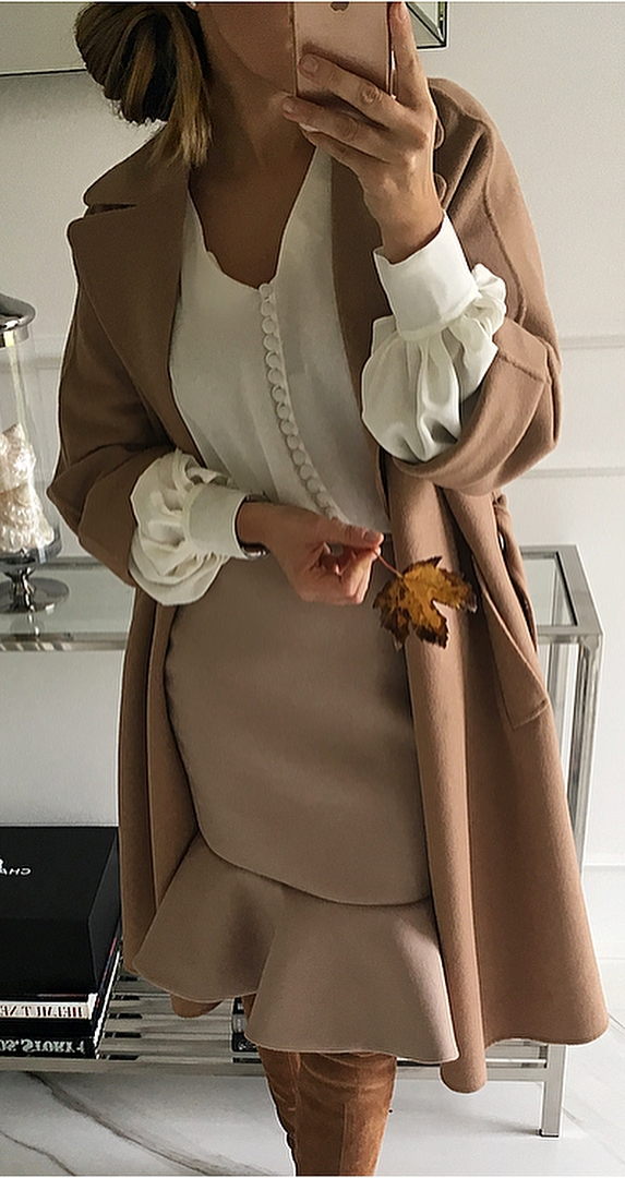 fashionable outfit_nude coat + skirt + white blouse + over the knee boots
