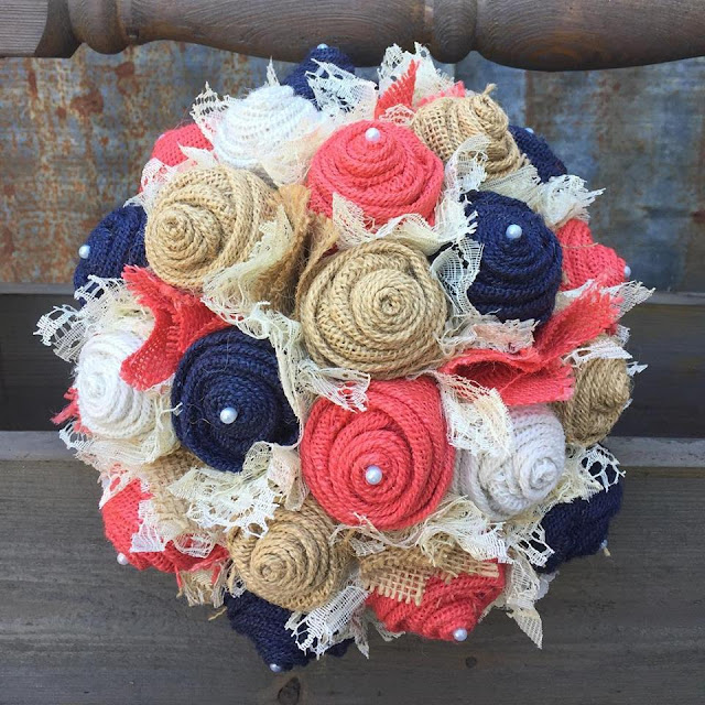 rustic wedding flowers with coral and navy