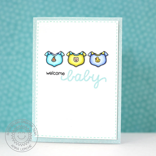 Sunny Studio Stamps: Baby Bear Welcome Baby Onesie Card by Anni Lerche.