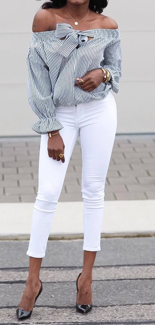 beautiful outfit: shirt + skinnies + heels