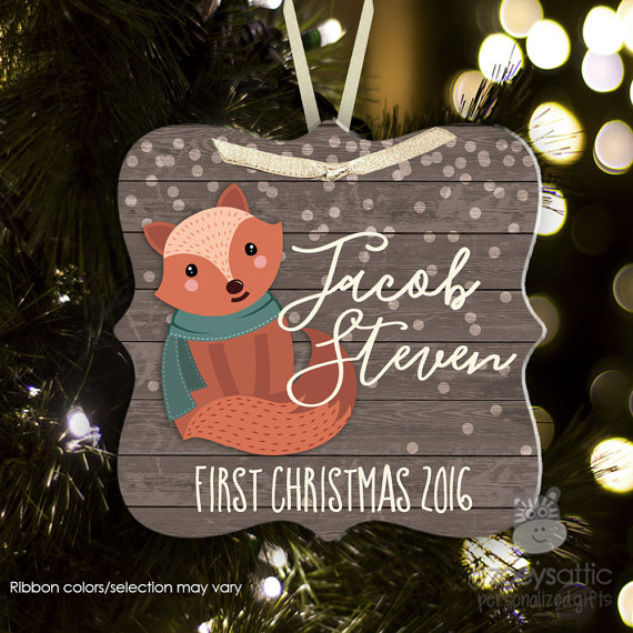 Baby's First Christmas personalized fox ornament