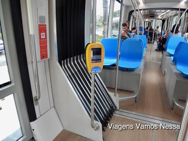 Máquina validadora do cartão de embarque colocada estrategicamente junto às portas de entrada