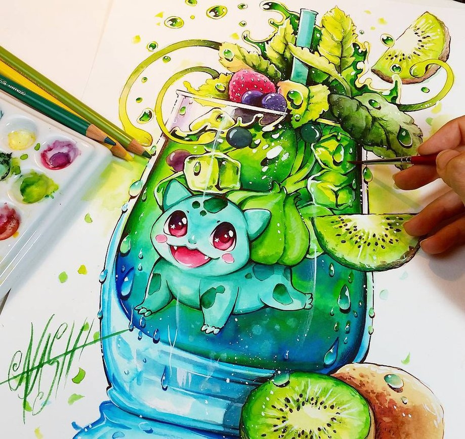 07-Green-Spirit-Bulbasaur-Nashi-Illustrations-that-Bring-out-Depth-of-Colour-in-Manga-Comics-www-designstack-co