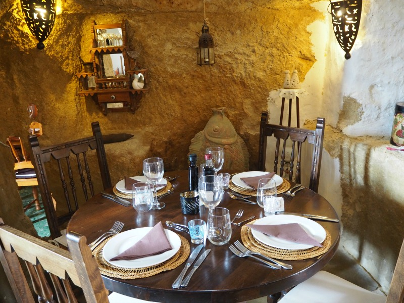 Inside the cave house restaurant