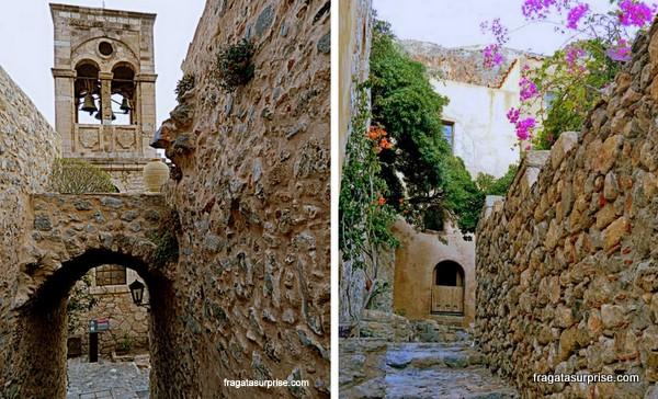 Ruas medievais da vila de Monemvasia, Grécia