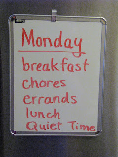 Create a summer schedule for kids using a dry erase board.