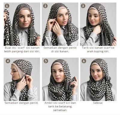Cara Mudah Memakai Jilbab Monochrome