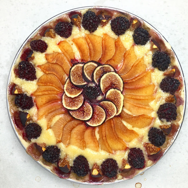 Baked Seasonal Fruit Frangipane Tart Overhead