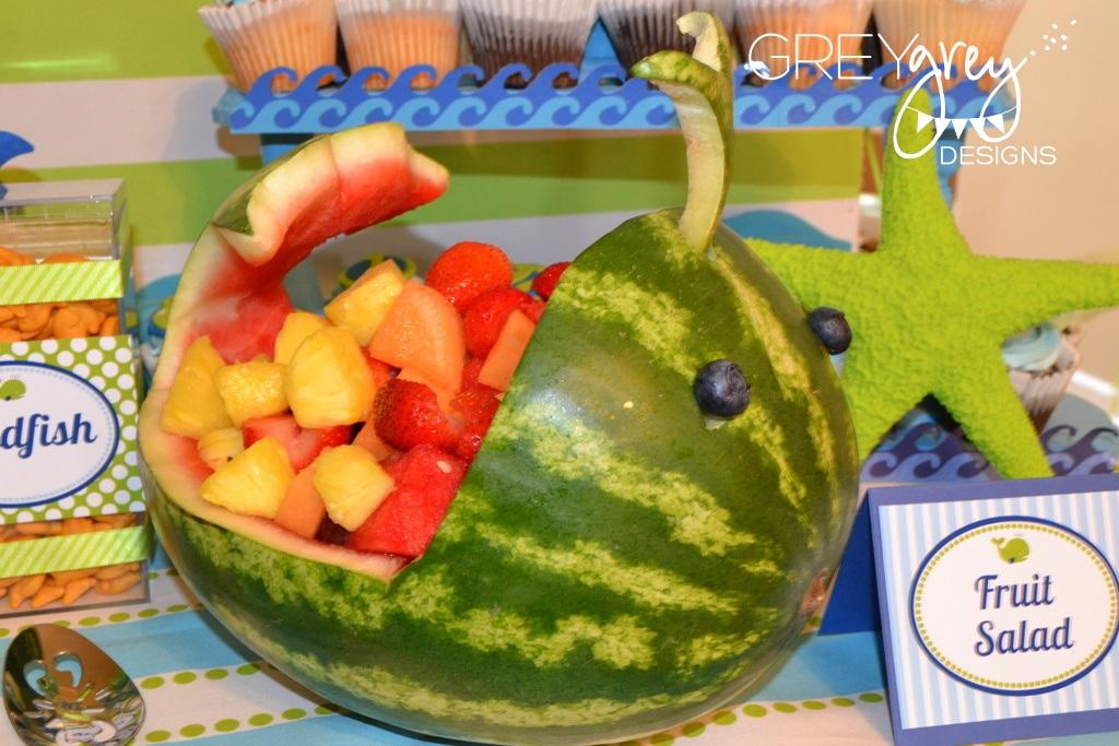 Greygrey Designs Aidens Green Whale 1st Birthday Party