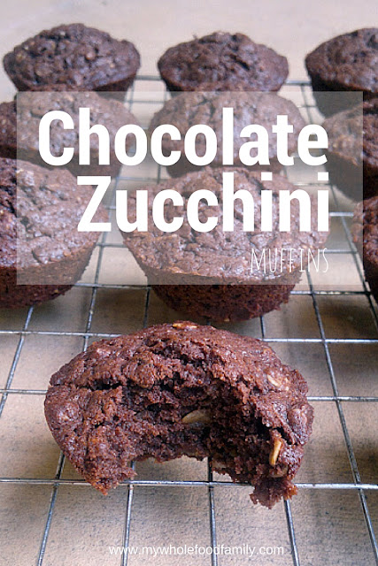 Wholefood Chocolate and Zucchini Muffins - free from dairy and refined sugar - from www.mywholefoodfamily.com