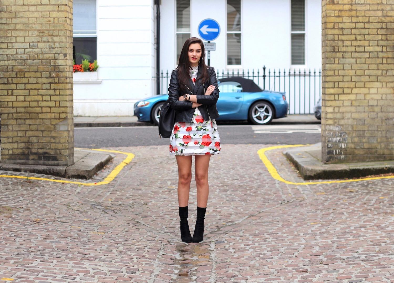 floral dress leather jacket peexo