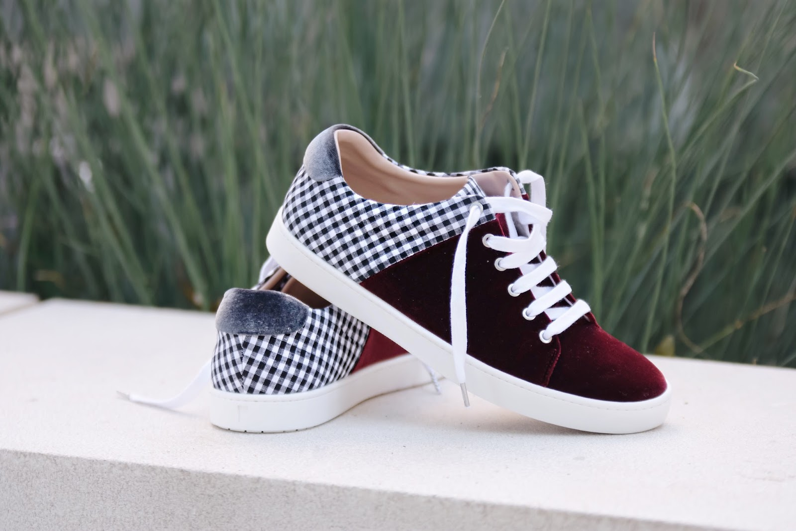 Shoes of prey, sneakers, customizable shoes, vichy print, gingham, velvet, sneakers for girls, fall outfits, sneakers for girls