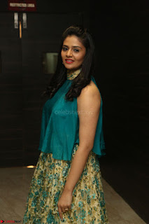 Anchor Srimukhi in green sleeveless top and skirt at O Pilla Nee Valla Movie Audio Launch Feb 2017 111.JPG