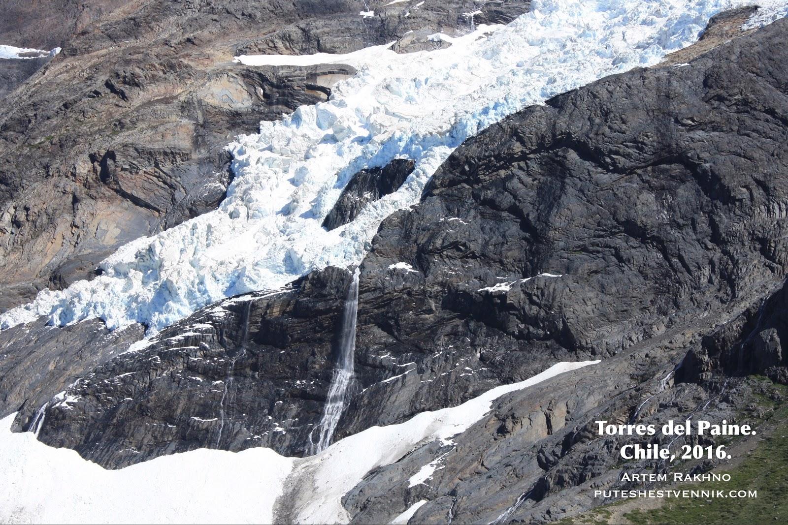 Ледник и водопад в Торрес-дель-Пайне