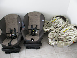 free car seats from a free car seat assistance program in the state of Indiana thanks to the local fire department alongside the infant car seats they replaced
