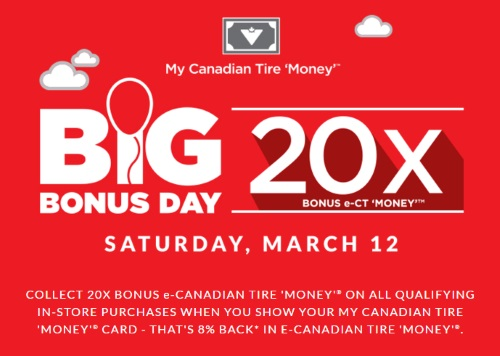 Canadian Tire Big 20x Canadian Tire Money Bonus Day