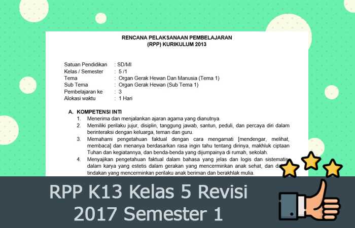 RPP K13 Kelas 5 Revisi 2017 Semester 1