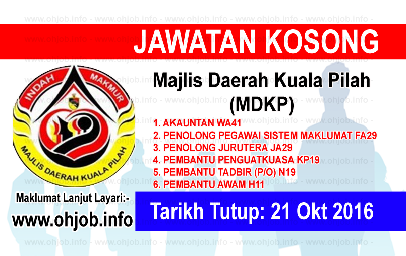 Jawatan Kerja Kosong Majlis Daerah Kuala Pilah (MDKP) logo www.ohjob.info oktober 2016