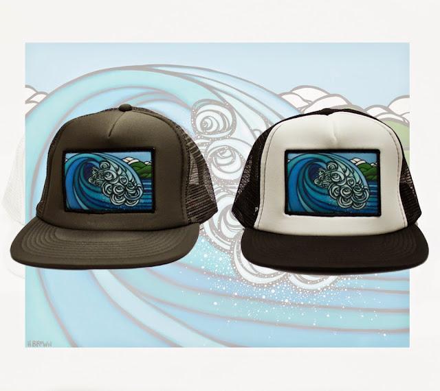 surf art trucker hat