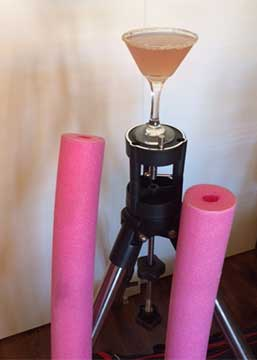 Playing hooky from SAS with repurposed telescope tripod and 5 inch pier with pool noodles and martini (Source Palmia Observatory
