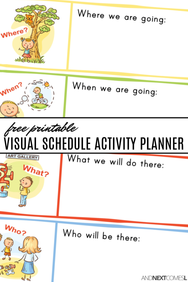 Free printable visual schedule planner for kids to plan out activities and events
