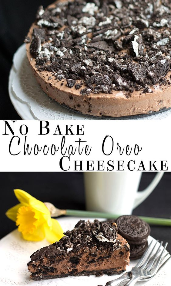 This recipe for no-bake chocolate Oreo cheesecake makes a decadent, tempting chocolate cheesecake that's loaded with Oreo goodness!