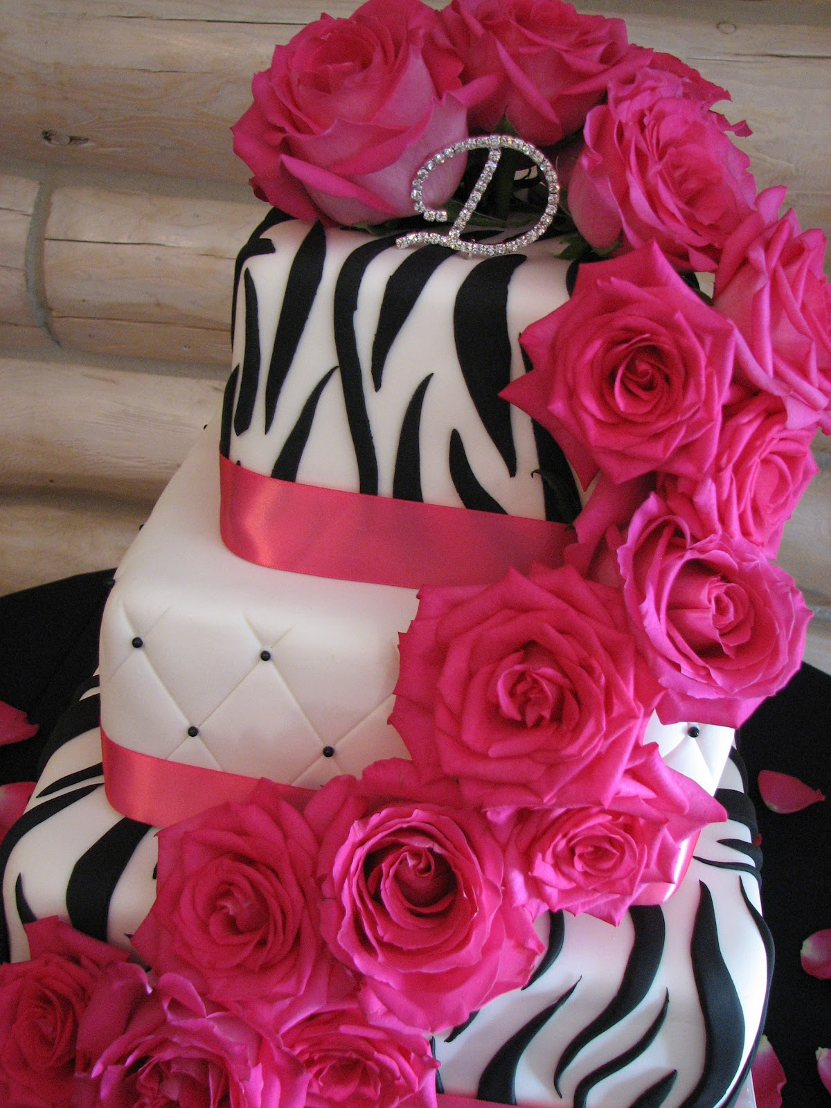 Leandras Black Pink Zebra Wedding Cake