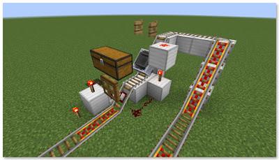 Minecraft トロッコ輸送 積み込み駅 複線 完成図③