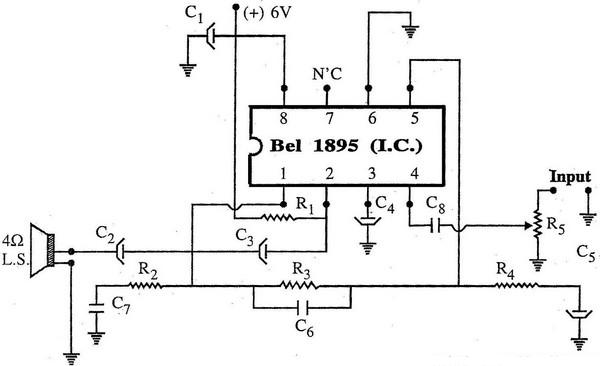 Amplifier Using BEL1895 I.C Circuit Diagram:
