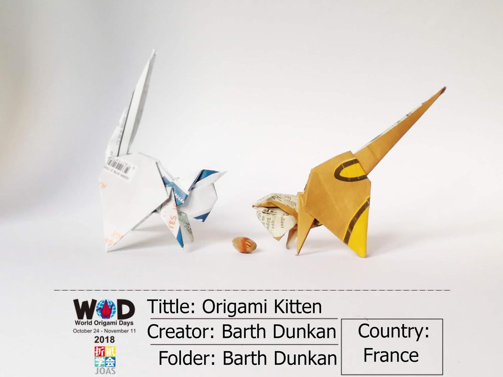 Origami Kitten - Barth Dunkan  | ECORIGAMI