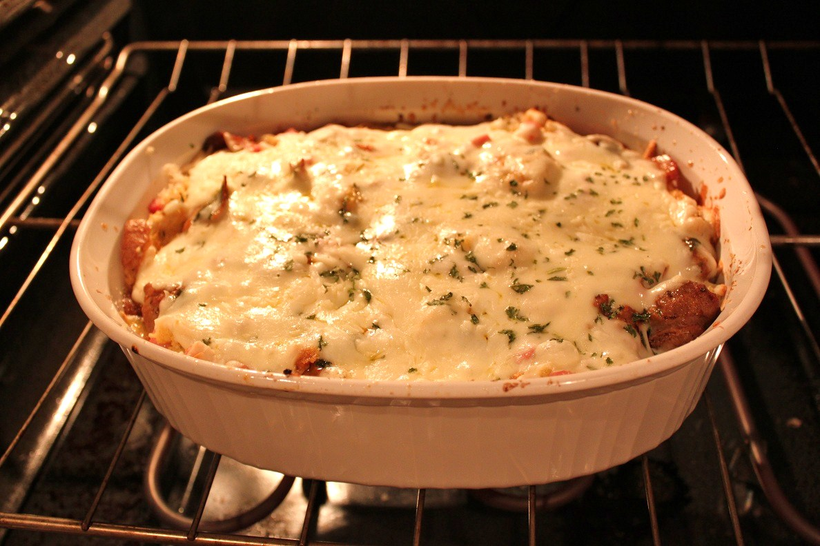 Ziti Sausage And Peppers Baked With Mozzarella