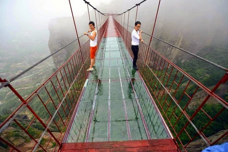 My palms are sweaty just looking at this! - A Vertigo-Inducing Bridge Opened in China. Would You Walk Across?