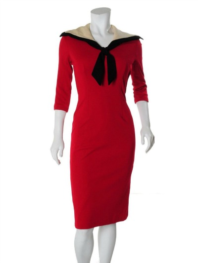 Red Wool Sheath Sailor Dress displayed on mannequin