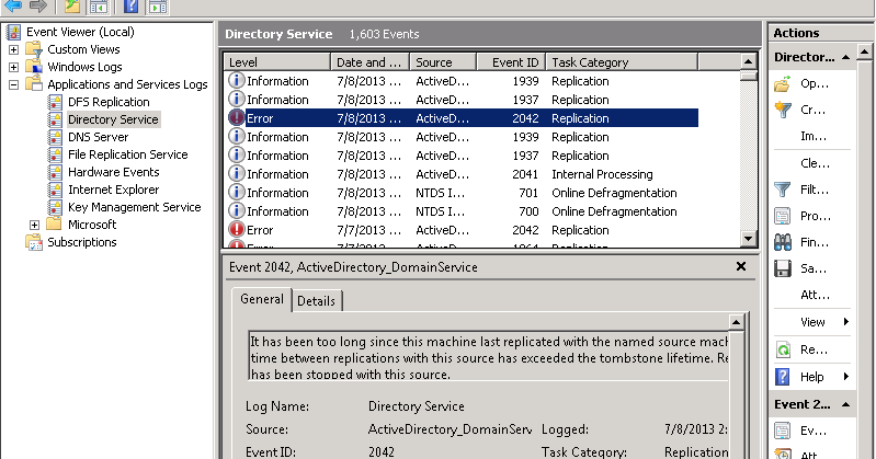Active Directory DC - How to solve error 8614 and eventID 2042