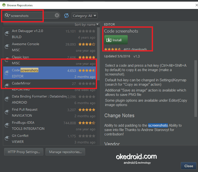 Install  Plugin Code screenshots di Android Studio
