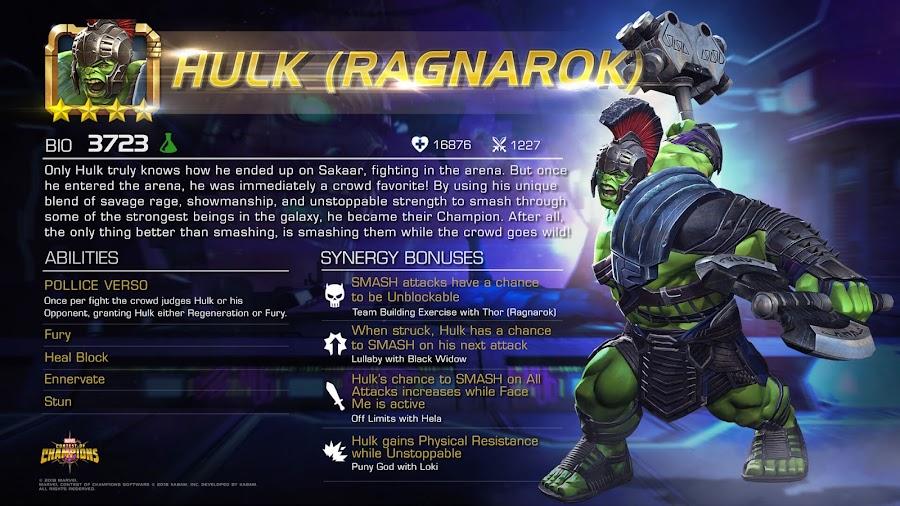 marvel contest of champions hulk ragnarok spotlight