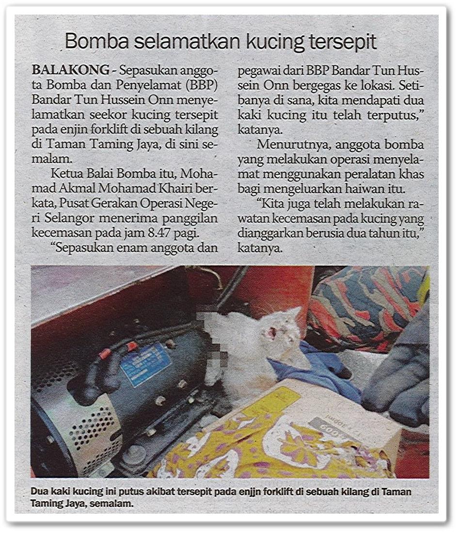 Bomba selamatkan kucing tersepit - Keratan akhbar Sinar Harian 3 Mei 2019