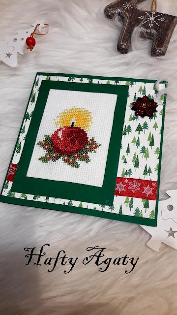 Bożonarodzeniowa kartka z czerwoną świecą