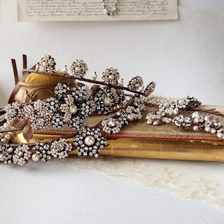 mdmButiik, vintage style tiara historical, rhinestone bridal headpiece, seed pearl tiara historical