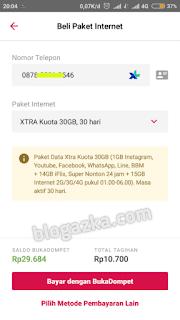 Pembelian paket internet Xtra Kuota 30gb harga 10 ribu melalui aplikasi Bukalapak